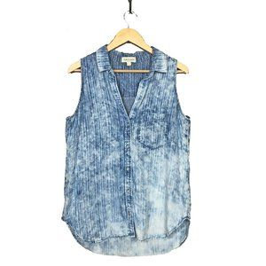 Anthropologie Cloth & Stone Chambray Top L